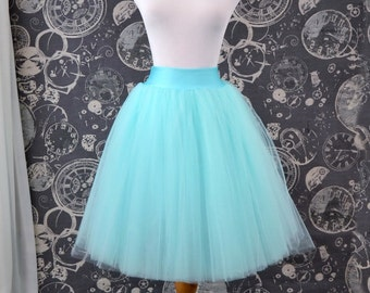 Aqua Blue Tulle Skirt - Adult Knee Length Tutu with Stretch Lycra Waistband - Custom Size - Made to Order