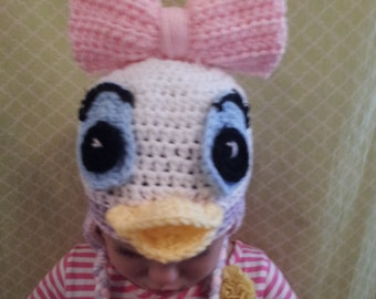 Crocheted Daisy Duck Inspired Earflap Hat For Baby Girls Ladies Ready To Ship