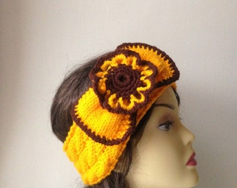 Yellow Brown Hand Knit Headband with detachable flower brooch, Hair Accessories, yellow brown knitted headband with flower for women, girls