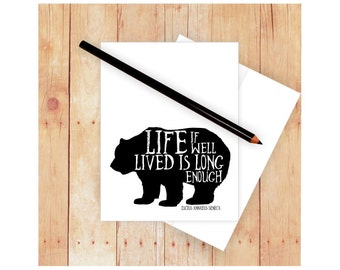 Bear Card, Buffalo Card, Quote Note Card, Thank Notes, Masculine Stationery, Famous Quotes, Blank Note Card, Masculine Card, Black and White