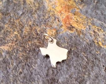 Texas Charm, Texas Pendant, Texas Stamping Blank, Sterling Silver Texas Stamping Blank, Sterling Silver Charm, TINY, PS0198