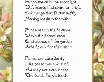 Fairies Dance in the Moonlight, Original Fairy Poem, DIY Printable, Instant Download, 8 1/2 x 11, 8.5x11