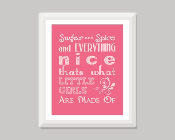 Sugar and Spice Quote Wall Art, Baby Word Art, Baby Girl Nursery Art, Baby Girl Gift , Little Girl Room, Girl Nursery Decor Girl Quote Print