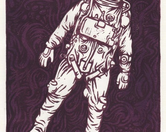 Linocut - Spationaute