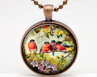 Vintage Bird Quartet  Art  Glass Pendant or Key Chain- 30 mm round- Chain Included- Made to Order