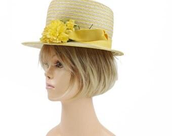 Vintage 60s Straw Summer Hat Wide Brim Yellow White Grosgrain Ribbon Floral Hat1960s Ruth Gallin Millinery Womens Spring Summer Fashion