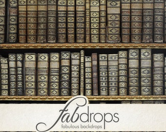 Book Shelf Backdrop, Library Books Photography Backdrop, Photo Backdrop, photo prop - Vintage Old Books Photo Drop (FD6034)
