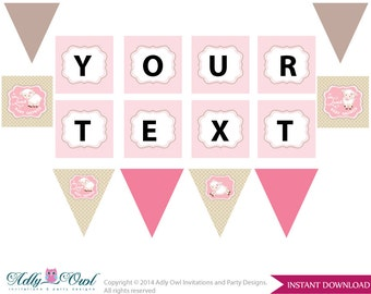 Girl Lamb Personalized  Banner Printable Card for Baby Lamb  Shower DIY Pink Sheep - ONLY digital file - oz30bs11