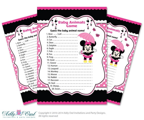 animal game guess animals printable card for baby minnie mouse shower