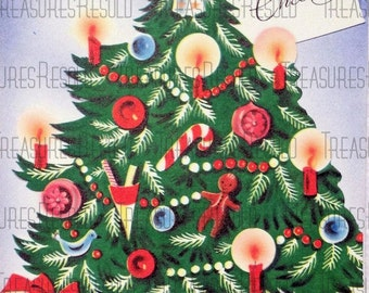Retro Christmas Tree Card #84 Digital Download