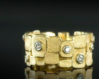 Gold and Diamond Cobblestone Wedding Band