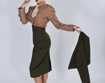 last for halloween 2017 pinup military pin up army outfit steampunk skirt cropped jacket shirt - Pin Up Girl Halloween Costumes 2017