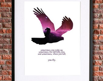 "Neil Gaiman Art | 8x10 Instant Download Printable Gaiman Poster | Quote ""And sometimes when you fall, you fly"" 