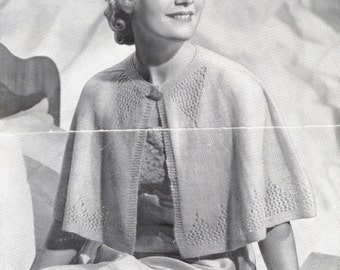 1930's Vintage Knitting Pattern | PDF INSTANT DOWNLOAD | Dressing Cape | Women Hand Knitted Short Cape