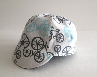 Baby boy hat, Children cycling hat, Baby cycling cap, Reversible hat, bicycle hat, White