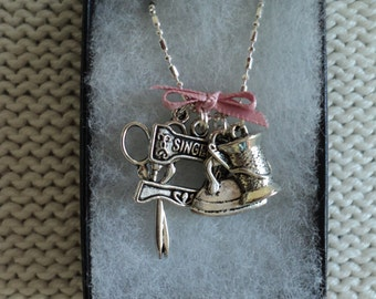 Sewing Themed Charmed Necklace