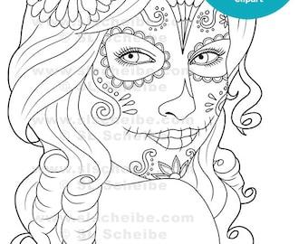 Digital Stamp Day of the Dead Calavera Girl, catrinas digistamp