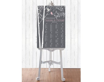 Wedding Seating Chart -  RUSH SERVICE - Birds Spring Tree Wedding Seating Chart Reception Poster - Digital Printable File -HBC6