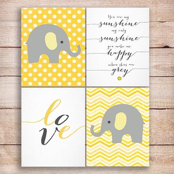 Yellow nursery nursery elephant decor set of 4 you are my sunshine
