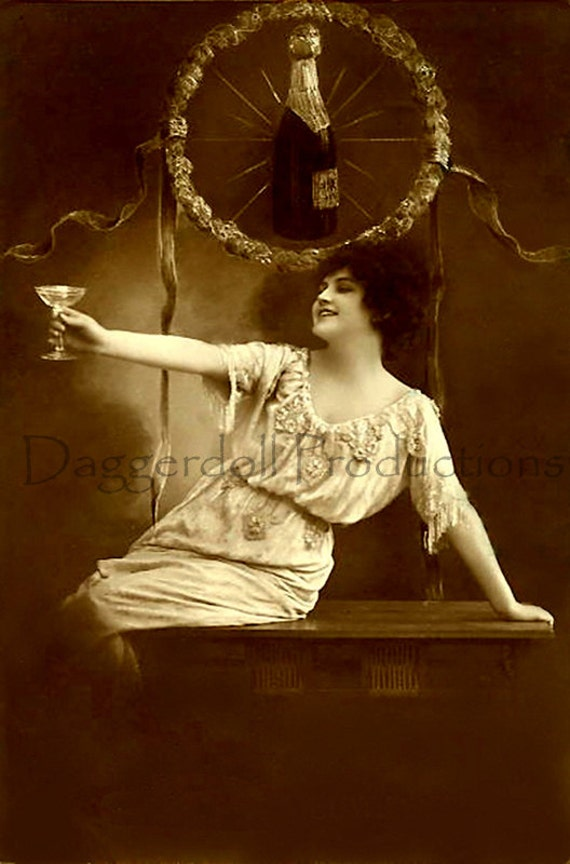Antique Post Card- Instant Download- Champagne Lady- Digital Scan- Printable Victorian Art