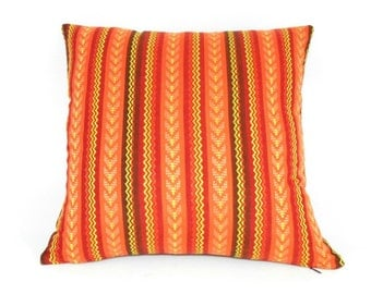 Free shipping/STRIPES PILLOW Cover 18x18 inches-Multicolor-Terracotta-tangerine-yellow-Throw pillow-Decorative pillow-Accent pillow-Handmade