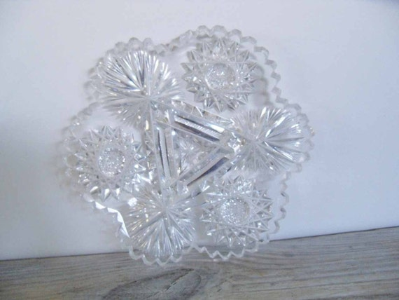 Vintage Cut Glass Mint Cookie Plate American Brilliant Crystal Plate Glass Plate Starburst Fan Star of David Saw-tooth Scalloped Edge 1950s