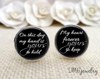 Groom Cufflinks, Wedding Cufflinks, Custom Groom Cufflinks, Gift for Groom, Heart Forever Yours, Ready to Ship