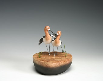 American Avocets  - Miniature - Wildfowl Wood Carving - Bird Art