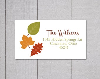 Autumn Address Labels, Fall Address Labels, Leaf Return Address Stickers (#022-2-L)