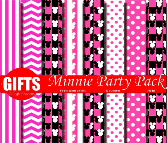 Pink Minnie Mouse Birthday invitation background Digital Paper Printable Scrapbook paper party decor diy labels card mickey mouse clubhouse