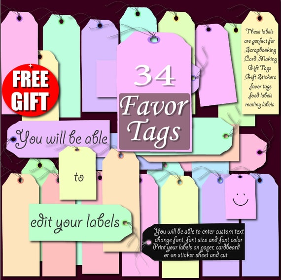 Digital Label Clip Art printable label favor tag gift DIY labels print 36 Pastel Digital tags for scrapbooking and price tag label maker