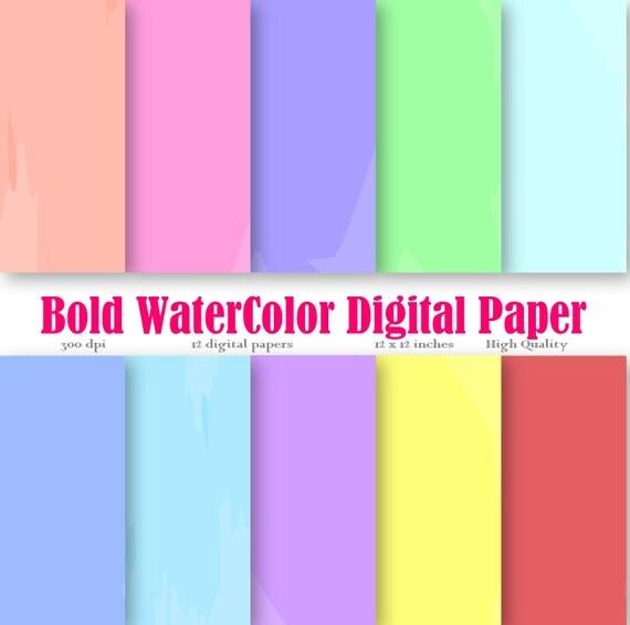 Watercolor ClipArt Water colorprint Digital Paper Background Scrapbook Paper Pack Rainbow colored Water color paper watercolor painting art