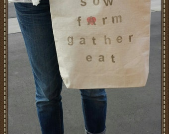 Market tote / cotton canvas shopping tote / reusable grocery tote / cotton grocery bag / natural canvas tote / food tote /