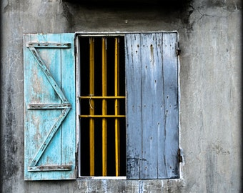 Window Photo, PRINT - fine art photography, collectable, window photography, color photo, aqua, yellow, wall decor, shutters, collectable