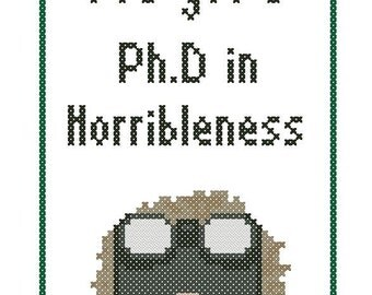 Dr. Horrible's Ph.D. in Horribleness Cross-Stitch Pattern Download