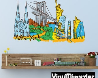 Famous City New York Wall Decal - Wall Fabric - Vinyl Decal - Removable and Reusable - FamousCityUScolor011ET