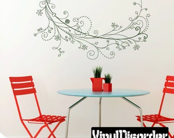 Floral Vine Wall Decal - Wall Fabric - Vinyl Decal - Removable and Reusable - FloralVineUScolor004ET