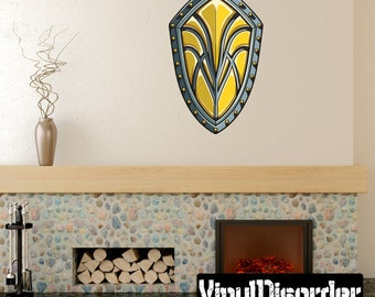 Sheild Wall Decal - Wall Fabric - Vinyl Decal - Removable and Reusable - ShieldUScolor001ET