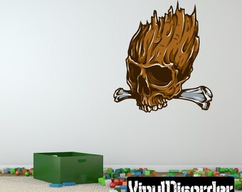 Skull Wall Decal - Wall Fabric - Vinyl Decal - Removable and Reusable - SkullUScolor040ET