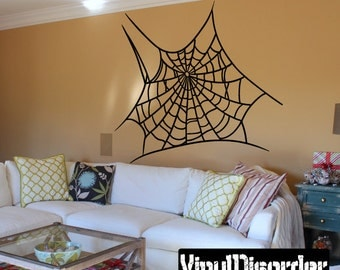 Spider Web Wall Decal - Wall Fabric - Vinyl Decal - Removable and Reusable - SpiderUScolor001ET