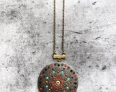 Mandala necklace - hippie boho style beaded handmade pendant unique gift for woman - christmas gifts & accessories