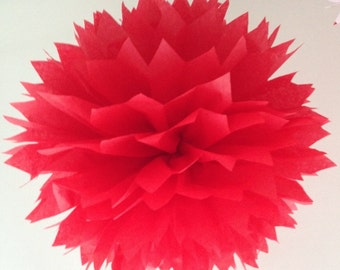 Pompom - plush quality tissue in orange, yellow, red, blue, mauve: handmade - Xlarge 48cm when fluffed