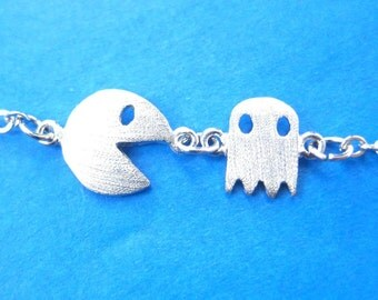 Pac-Man and Ghost Arcade Game Themed Charm Bracelet in Silver | Namco Video Arcade Game Inspired Jewelry
