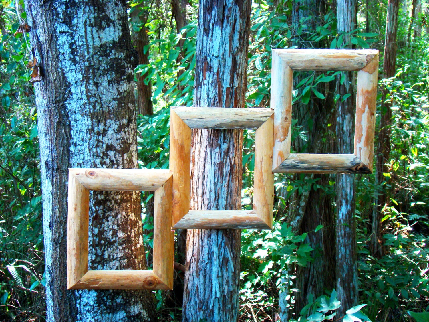Rustic step design collage frames unique picture frames for Unique wall frames