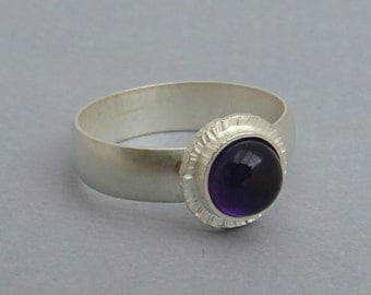 Amethyst and Sterling Silver Ring, unique organic hand forged setting holds a deep purple gemstone, Alabama made, US size 5.75 ready to ship