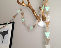 Mint and Metallic Triangle Garland. Geometric Garland. Paper Backdrop. Tribal Party. Baby Shower. Birthday Garland. Wedding Garland. Pow Wow