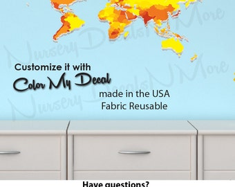 World Map Decal for Kids, World Map Wall Mural, Kids Wall Stickers (WorldmapExtruded_Yellow_MINI )
