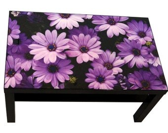 Coffee Table Featuring Purple Flowers Print With High Gloss Epoxy Finish