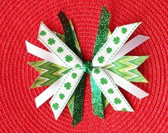 St. Patrick's Day Shamrock Spike Hair Bow