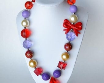 Red & Purple CHUNKY necklace with acrylic beads, tiger tail stringing, and metal toggle clasp